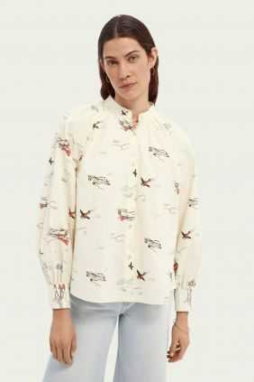 Comprar online Camisa algodón orgánico cuello fruncido Maison Scotch Aviones