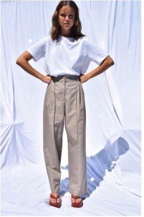 Comprar online Pantalón Lorraine Mbym Tiro alto Pierna ancha Mujer