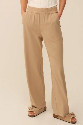Comprar online Pantalón Phillipa beige Mbym Pierna Ancha Mujer