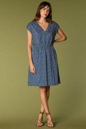 Comprar Vestido Liette Harris Wilson azul Escote Pico Lunares