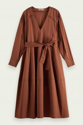 Vestido lazo Maison Scoth Escote Pico en Algondón Orgánico percha